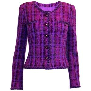 CHANEL Purple Lesage Fantasy Fringe Skirt Set SZ42